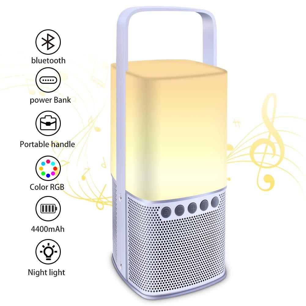 SunBeter Bluetooth Speakers + Power Bank + Bedside Lamp, Night Light, Camping Lantern, RGB 7 Colours LED Multifunctional Bluetooth Speaker Lamp, Adjustable Brightness