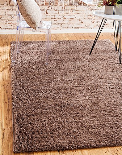 (Unique Loom Serenity Solid Shag Collection Super Soft Micro Polyester Brown Area Rug (4' x 6'))