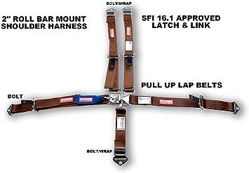 Racerdirect.net Kids Racing Harness SFI 16.1 5 Point ROLL BAR Mount Copper Bolt in
