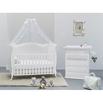 babyzimmer komplett set rinascimento mit besonderem babybett wickeltisch matratze und himmel ad