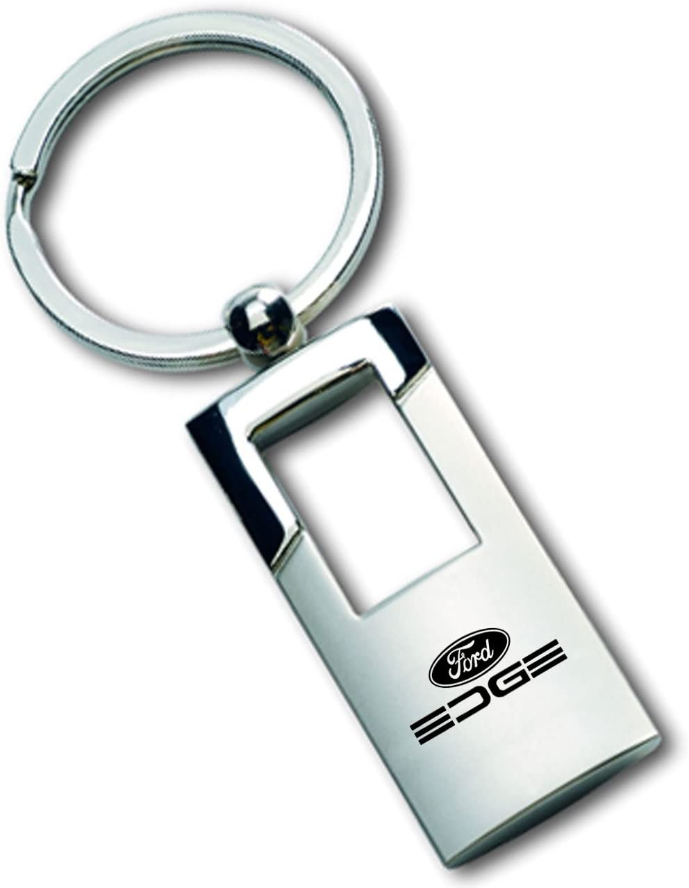 Gregs Automotive Compatible with Edge Ford Chrome and Brushed Metal Key Chain Ring Fob with Racing Decal