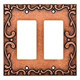 Franklin Brass W35077-CPS-C Classic Lace Double Decorator Wall Plate/Switch Plate/Cover, Sponged Copper