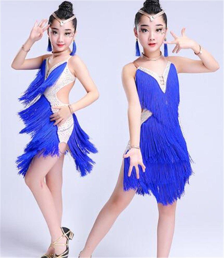 Bleu peiwen Robe de Danse Latine de la Jeune Fille scène de Danse pour Enfants Robe de Gland 170cm