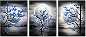 """sechars 3 Piece Moon Canvas Wall Art Modern Abstract Blue Tree with Full Moon Landscape Painting Prints for Bedroom Bathroom Decor Gallery Wrapped Artwork Ready to Hang (12""""x16""""x3pcs)"""