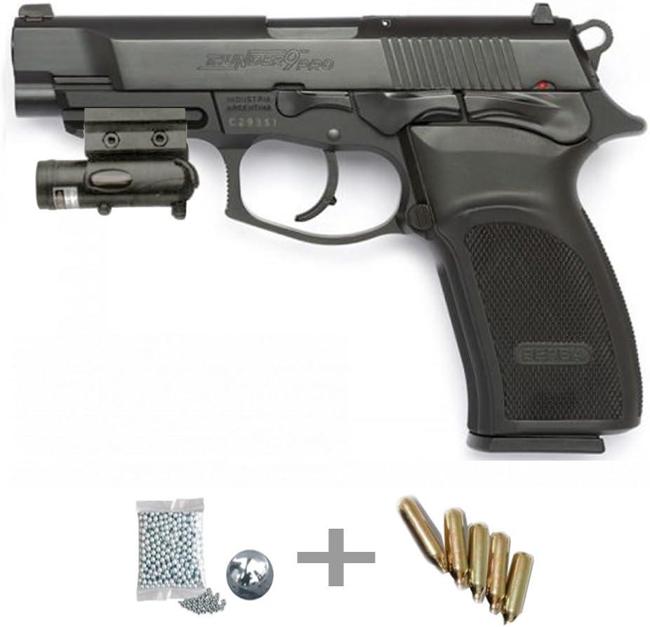 KIT ASG Thunder 9 pro LÁSER - Pistola de aire comprimido (CO2) y balines de acero (perdigones BBS) calibre 4.5mm. Réplica + accesorios <3,5J