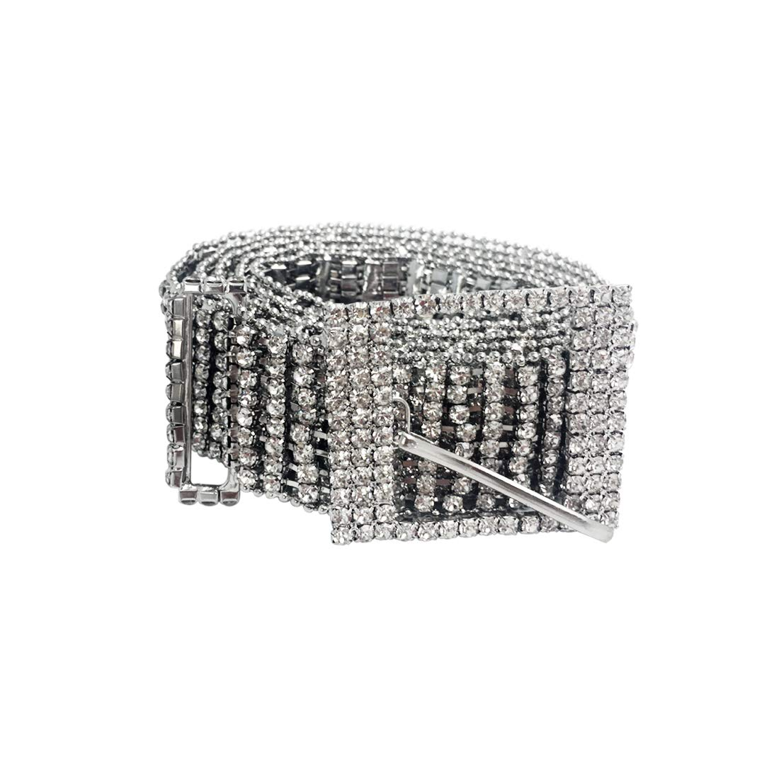 Womens Silver Crystal Rhinestone Chain Waist Buckle Belt Luxury Sparkling Sash Waistband Accessory