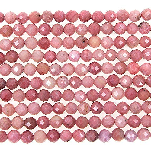(MJDCB 3mm Faceted Natural Rhodonite Round Loose Beads for Jewelry Making DIY Bracelet Necklace)