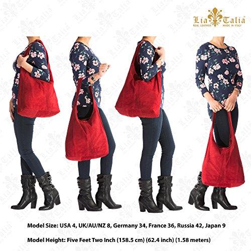 hobo slouch italienporté Café style en Rouge femme cabas pour à sac LIATALIA Large épaule suède 'Shay' main sombre HT7wYfq0q
