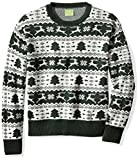 Ugly Fair Isle Unisex Jacquard Crewneck Christmas Sweater Medium Deep Green /White