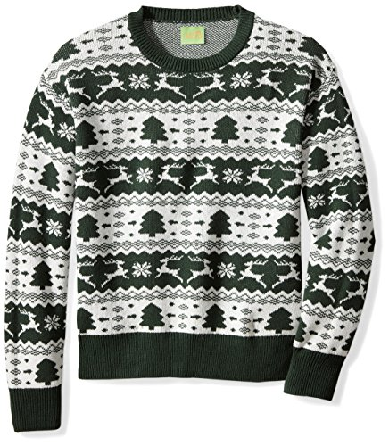 Ugly Fair Isle Unisex Jacquard Crewneck Christmas Sweater XX-Large Deep Green/White
