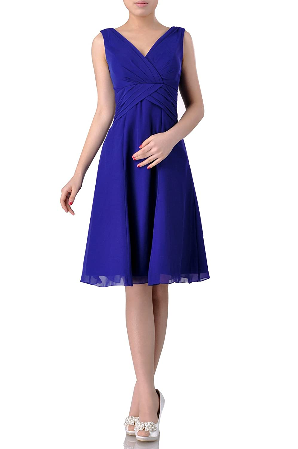 Straps Pleated Chiffon Wear to Work Knee Length A-line V-neck Short Bridesmaid Dress E20037