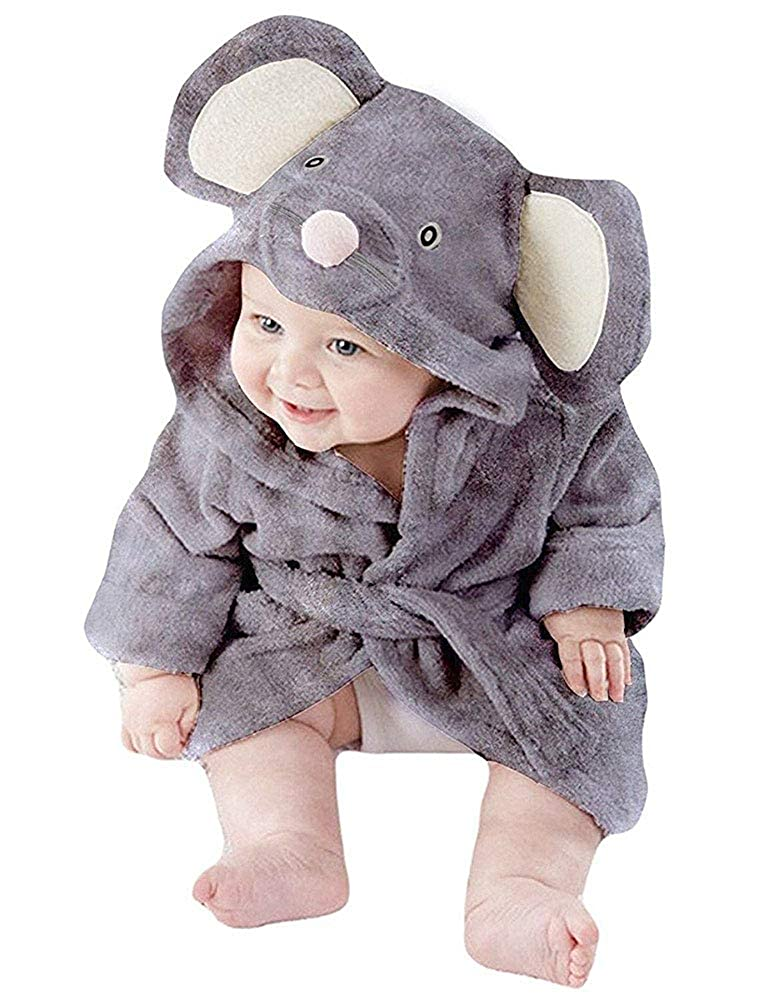 Boys Bathrobes for Girls Unisex Baby Hooded Dressing Gown Fluffy Flannel Cotton Pyjamas Toddler Mouse Animal Printed Nightgown for Kids Age 1-6 Years