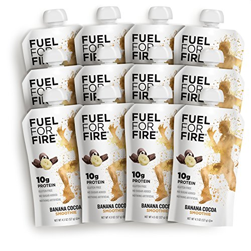 Fuel For Fire - Banana Cocoa (12 Pack) Fruit & Protein Smoothie Squeeze Pouch | Perfect for Workouts, Kids, Snacking - Gluten-Free, Soy-Free, Kosher, No Added Sugar (4.5 ounce pouches)