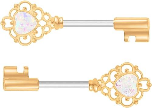 14g Barbell. 16g Nipple Ring Nipple Shield Rose Gold Nipple Jewelry White Fire Opal Piercing Opal Nipple Bar Nipple Barbell Jewelry