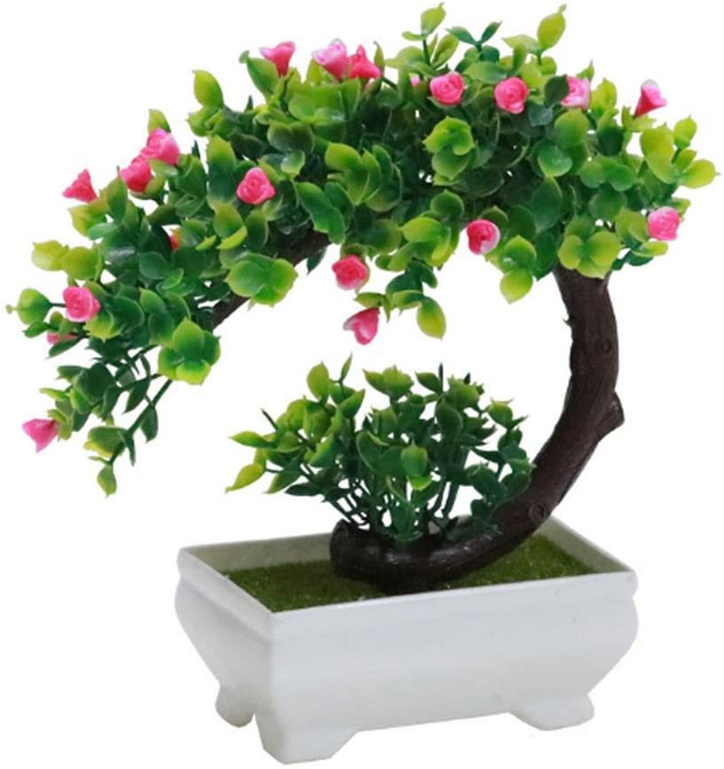 GreensCharm Artificial Bonsai Tree Faux Potted Plant with White Pot - Mini - 8 Inch Tall(Rose Red)