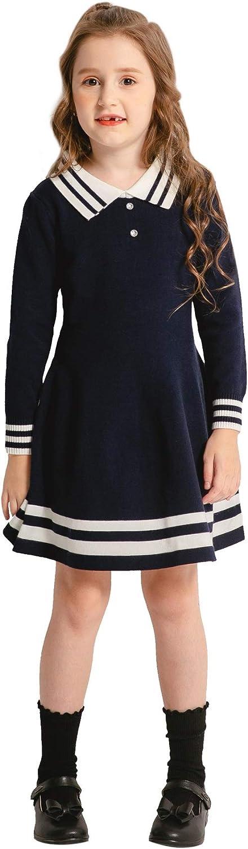 SMILING PINKER Girls Uniform Dresses Long Sleeve School Polo Striped Knit Sweater Dress: Clothing