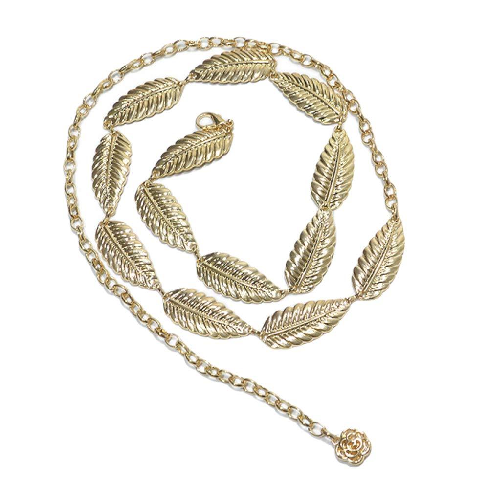 Ladies Leaf Design Waist Chain Sash Belt Metal Chain Style Belt Waistband Participate Banquet And Wedding Gold-OneSize Charm