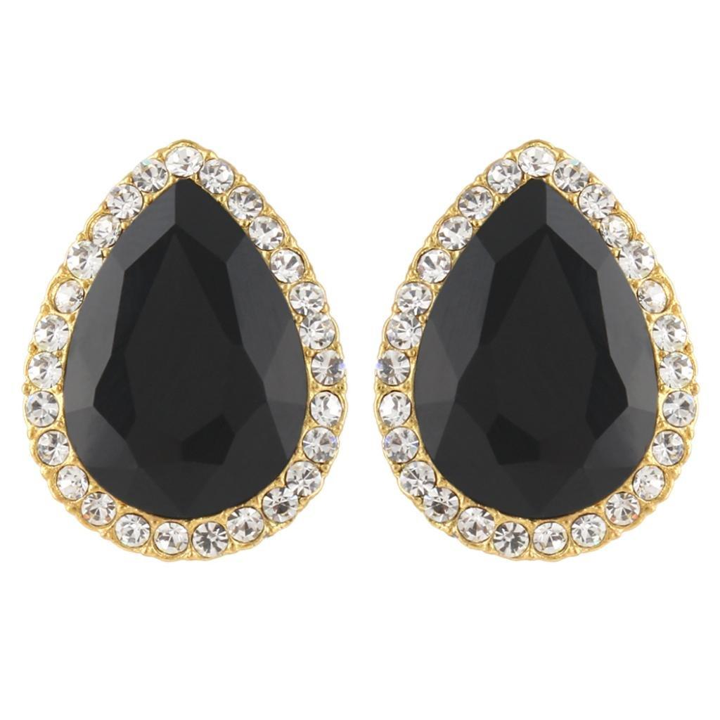 Ever Faith Wedding Teardrop Stud Earrings Austrian Crystal N03825-16
