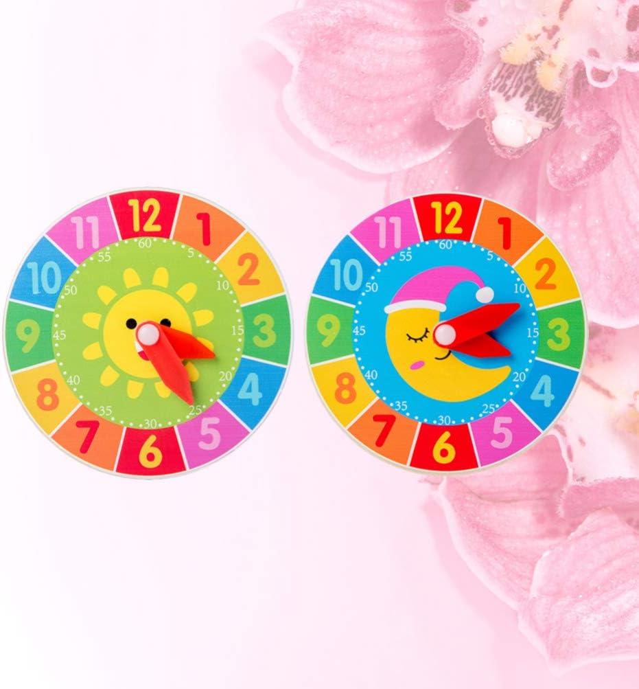 TOYANDONA 2Pc Holzuhr Spielzeug Kinder Lernen Spielzeug Uhr Kognitive Lernspielzeug Fr/üh P/ädagogische Lernspielzeug f/ür Jungen M/ädchen Mehrfarbig a