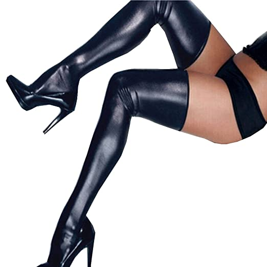 2fc6de62724 Tuesdays2 Women PU Leather Legging Stockings PVC Clubwear Thigh-High Sock  (Black