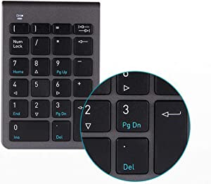 Financial Accounting 2.4G Wireless USB Nano Receiver Numeric Keyboard,Notebook Number Pad 22 Keys Digital Slim Number Pad Keyboard Multi-Function Keypad for MacBook,Windows PC,Laptop,Desktop(Black)