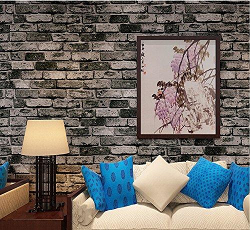 Blooming Wall Cultural Vintage Faux Brick Wallpaper Vinyl for Livingroom Bedroom, 20.8 In32.8 Ft=57 Sq.ft, Cyan -