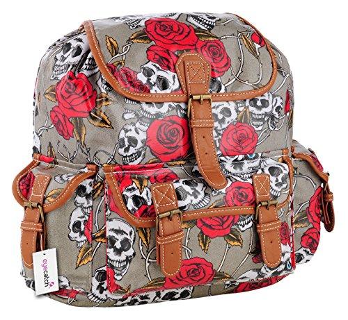 EyeCatch Womens Grey Bag Skull Roses BackPack TM Girls Cloth Rucksack School Oil RTfBORqr