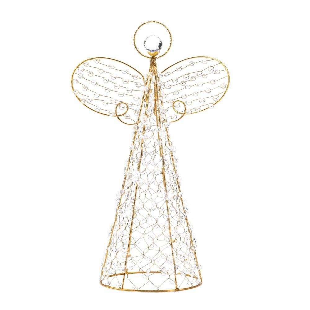 Angel Tree Decor, Beaded Topper Christmas Decoration Yard Angel Decor (Sold by Case, Pack of 4)