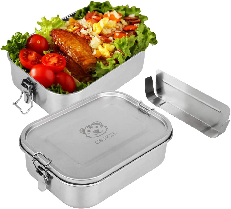 Bento Box Container 41oz/1200ml 304 Stainless Steel Lunch Box Metal Leakproof Tiffin Food Containers for Kids School Adults Work With Clip Locks Snack Container-Small Removable Divider-Stainless Lid