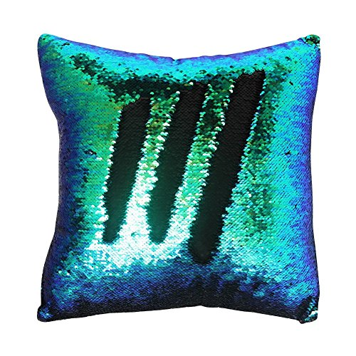 16x16 with Insert Mermaid Flip Sequin Pillow That Changes Color Reversible Pillow with Sequins Perfect Color Changing Throw Pillow Square for Home Decor Great Gift for All Green Black Color