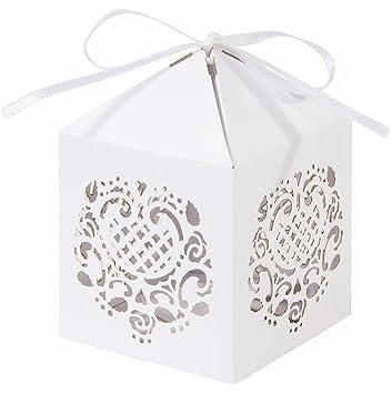 Talking Tables Farol de Encaje Couture Corte láser Cajas de Regalo, Papel, Color Blanco, Pack de 10: Amazon.es: Hogar