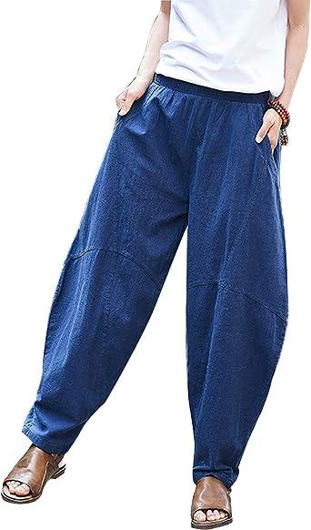 Pantalones Harem Informales De Lino De Talle Alto Pantalones Bombachos De Talla Grande Para Mujer Azul Marino One Size Amazon Es Ropa Y Accesorios