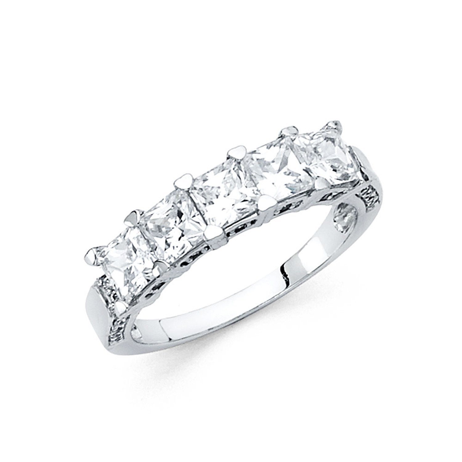 Size 7 - 3mm Solid 14K White Gold Princess Cut Classic Traditional Wedding Band Ring (2.0 cttw.)