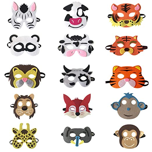 Selva Animal Fieltro Máscaras Tema De Animales Salvajes ...