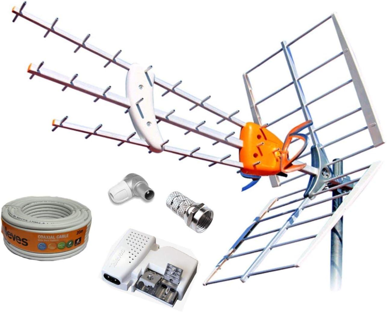 Kit Creado por TECNOVOZ de la Marca Antena TELEVES HD 149922 (Corte 700 MHz ch 21-48)+20MT Cable+Fuente TELEVES 5795 +Conectores DE Antena Tipo FY CEI ...