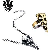 Club de Cuervos 2PACK - Collar y Anillo de Chava Iglesias - Dije de Cuervo (Silver)