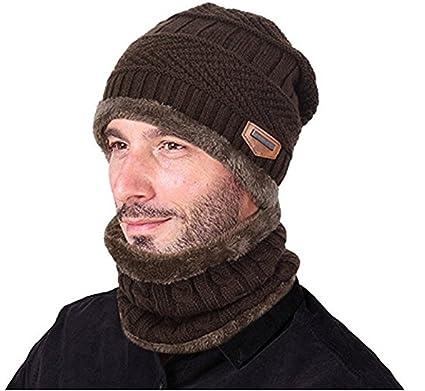 Bonnet Chapeau Tricot, 2Pcs Chapeau Chaud Tricot Tour de Cou avec Doublure  Polaire pour Homme d347226f5b9