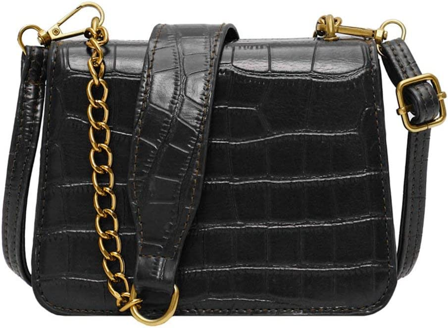 Bolso de Cadena con patrón de Piedra Bolso de Cuero de PU para Mujer Bolso Cuadrado pequeño Messenger Retro de un Solo Hombro All-Match