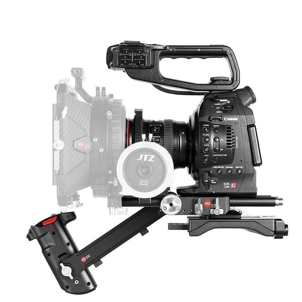 jtz DP30Cámara Baseplate hombro stützhandgriff Rig 15mm Rod Kit para Canon EOS C100, C300, C500Mark II