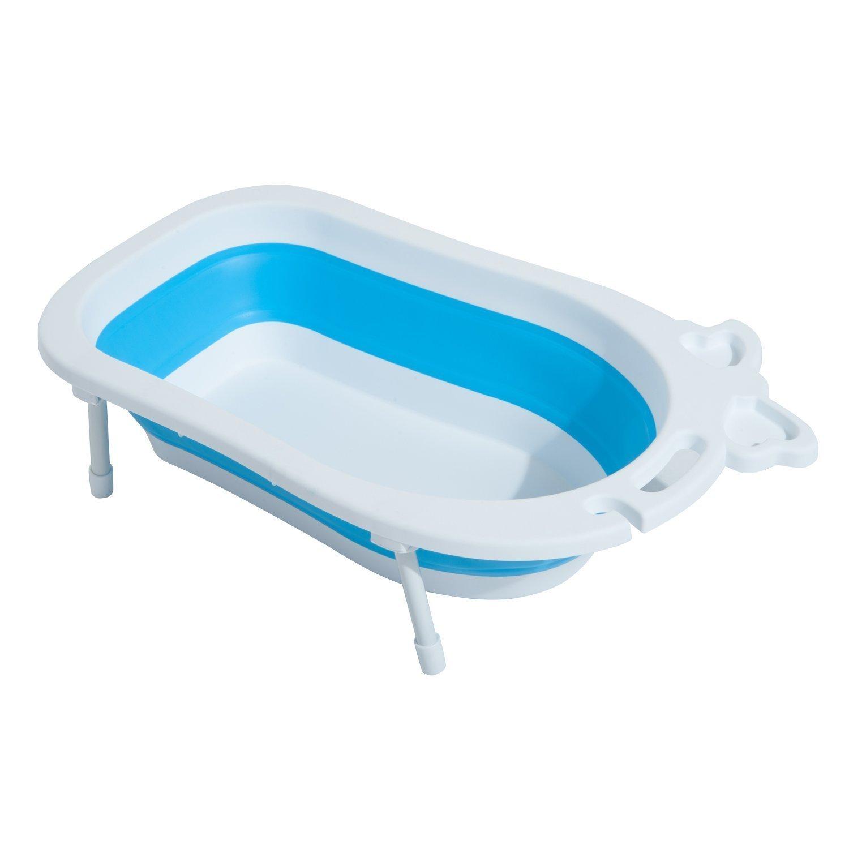 HOMCOM Bañera para Bebé y Niño para Baño Infantil Plegable Portátil y Segura Certificado EN71-1-2-3 Material PP+TPE Color Blanco y Azul 89x53.5x38cm