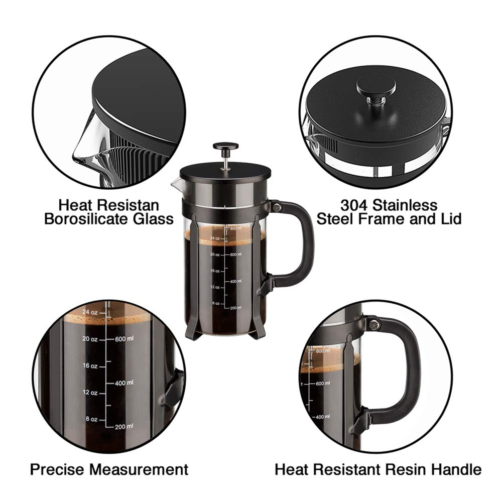 Chrider French Press Coffee Maker (34 oz 8 Cups) Coffee Press with 304 Stainless Steel Stand and 4 Filter Screens, Precise Scale Easy to Clean Durable Heat Resistant Borosilicate Glass - Black by Chrider (Image #5)