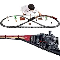 Electric Model Train Set, Steam Locomotive Engine Railway Kits, with Realistic Trains Sound, Lights Smoke, Easy Assembly…