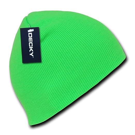 Neon Hazard Bright Green Knit Beanie Stocking Cap Winter Hat Mens ... a8be8895c4