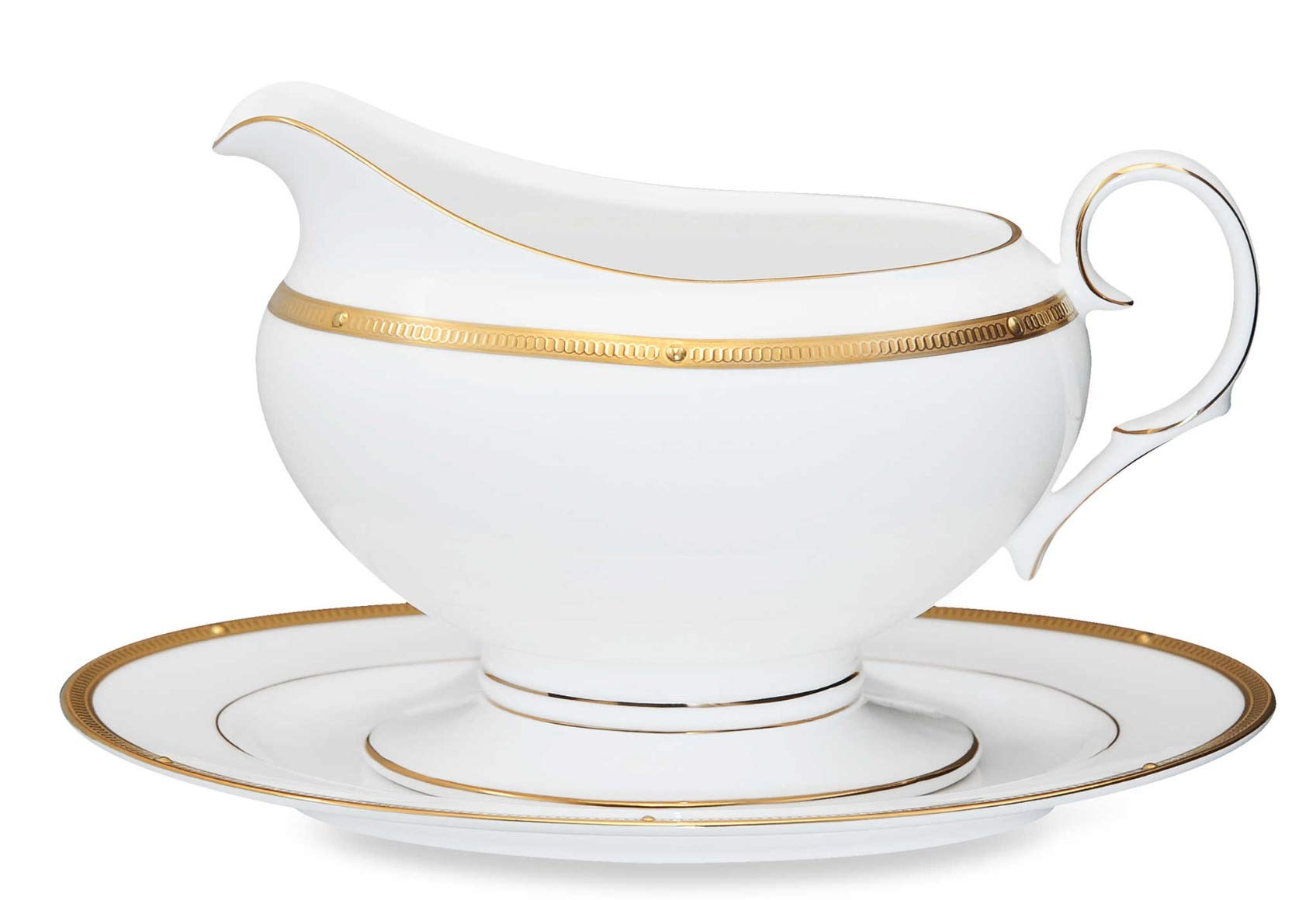 Noritake Rochelle Gold 2-Piece Gravy Boat with Tray, 16-ounce