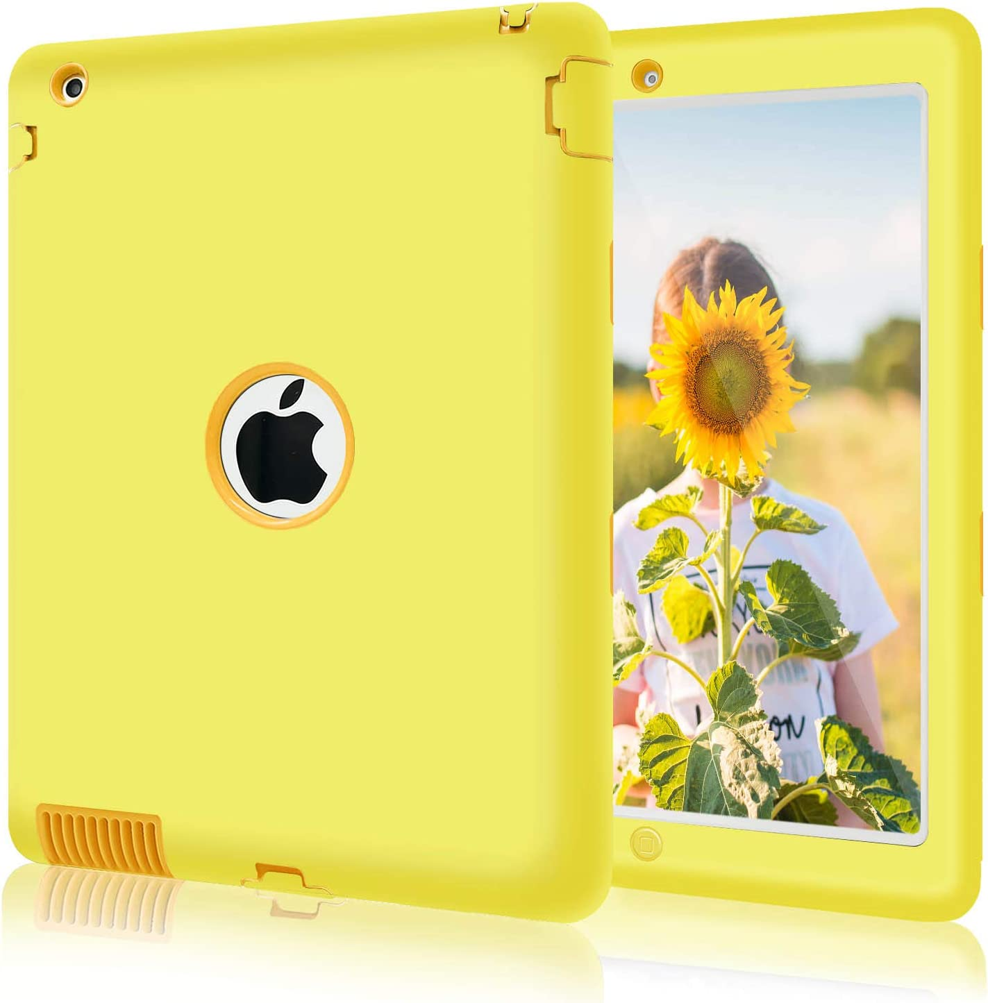 iPad 2 Case, iPad 4 Case, iPad 3 Case, Fingic Heavy Duty Rugged Shockproof Rugged High Impact Case Hybrid Three Layer Armor Full Body Protective Cases Cover for iPad 2nd /3rd / 4th Generation - Yellow