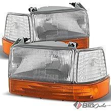 For 1992-1996 F-Series, Bronco Headlights + Corner Lights + Amber Bumper Lights Set Pair Left+Right 1993 1994 1995