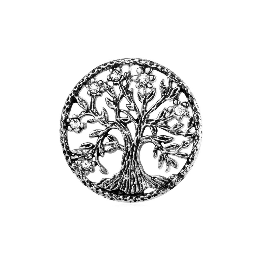 U7 Brooch Women Men Stainless Steel Tree Of Life Design Round Lapel Stick Pin For Hat,Bag,Suit by U7
