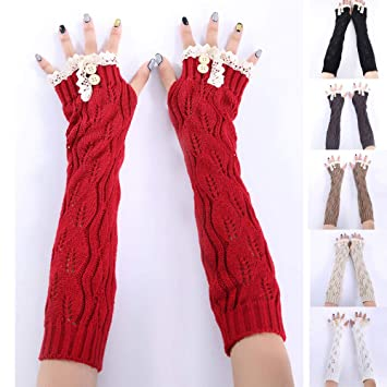 1 Pair Fashion Arm Warmer Knitted Long Gloves Autumn And Winterfingerless Gloves Women Apparel Accessories