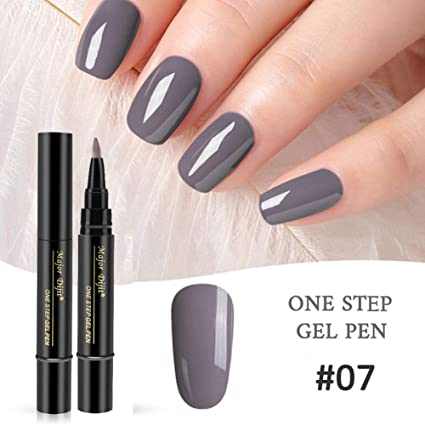 eb4bf5a5c Image Unavailable. Image not available for. Color: AOLVO 3 in 1 Nail Gel Pen ,One Step Gel Nail Polish ...
