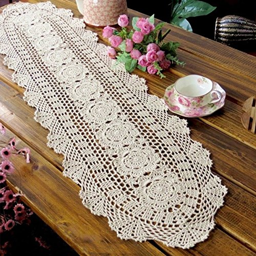 "yazi Crochet Floral Table Runner Beige Handmade Rustic Floral Pattern Table Doilies 11.8""X35.4""(30X90cm) Mother's Day Gift"